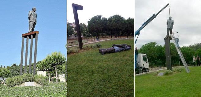 Estatua de Jordi Pujol en Premià de Dalt antes de ser derribada (i),...