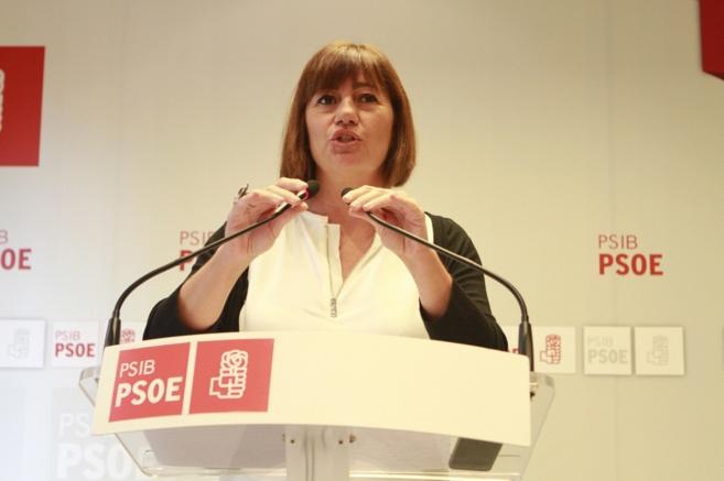 Francina Armengol durante una rueda de prensa.