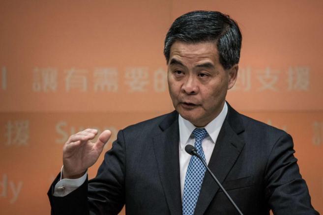 Leung Chun-ying durante una conferencia de prensa.