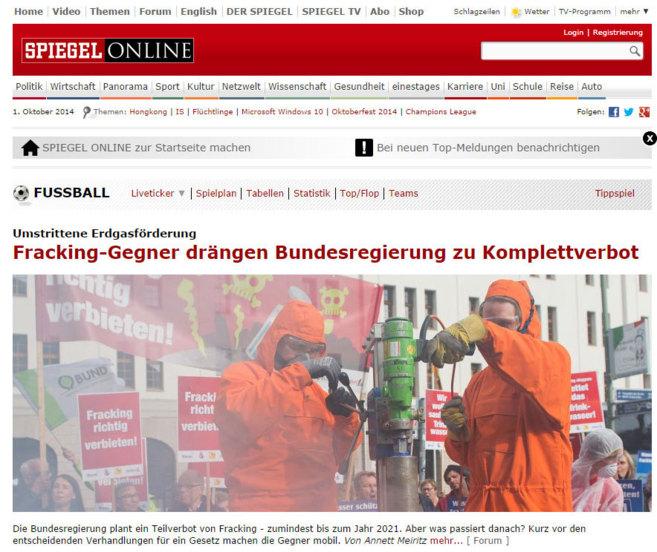 Pantallazo de la versión online de 'Der Spiegel'.