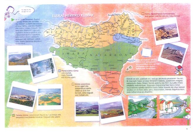 Un mapa de Euskal Herria en uno de los libros.