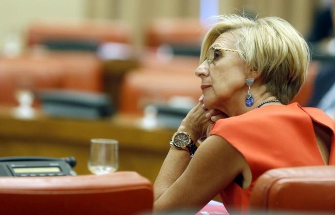 La líder de UPyD, Rosa Díez, en una comisión del Congreso.