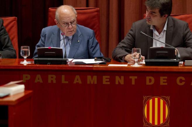 El ex preidente de la Generalitat durante su comparecencia en el...