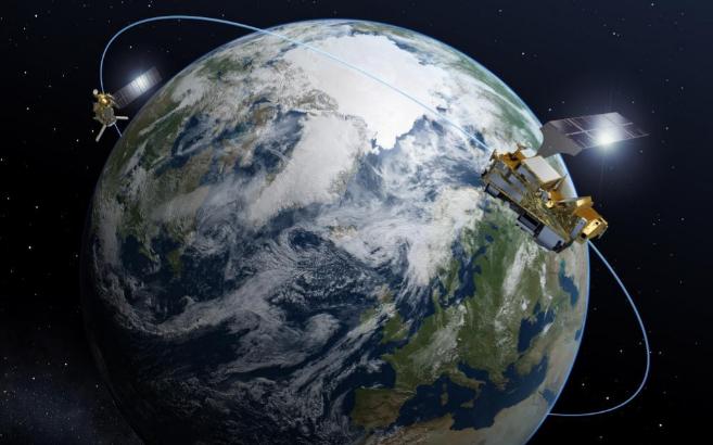 Impresión artística del satélite EPS en órbita.