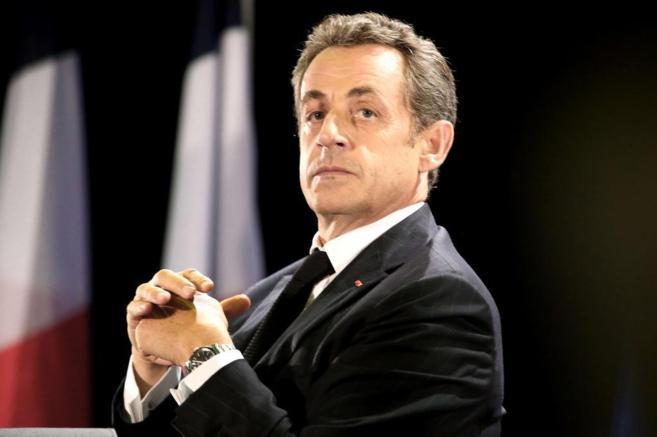 Nicolas Sarkozy, durante el mitin de este jueves en París.