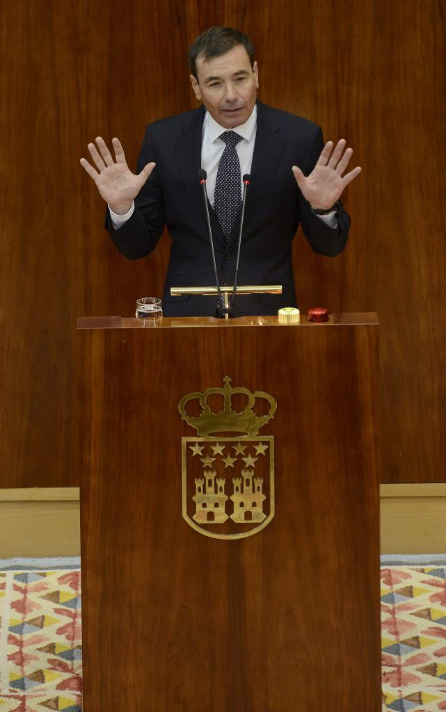 El líder del PSM, Tomás Gómez, en la Asamblea