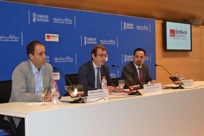 Ángel Colomina, Joaquín Ríos y Jorge Ordovás, en la presentación...