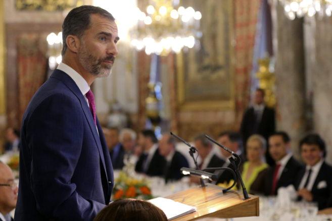 El Rey Felipe VI en su discurso en la cena ofrecida al presidente de...