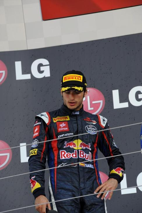 Carlos Sainz Jr., en el podio de Hungaroring.
