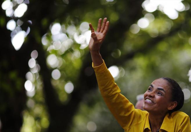 La candidata socialista marina Silva, en un mitin de campaña, en Río...