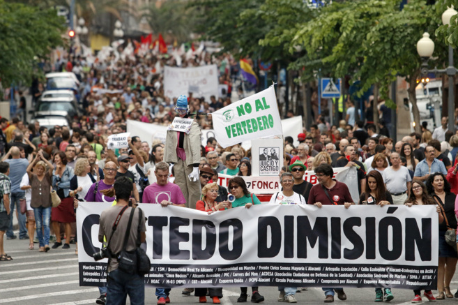 Imagen de la manifestación de este sábado en Alicante pidiendo la...