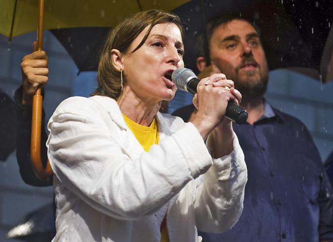 Forcadell, el martes, durante la protesta por la suspensión de la...
