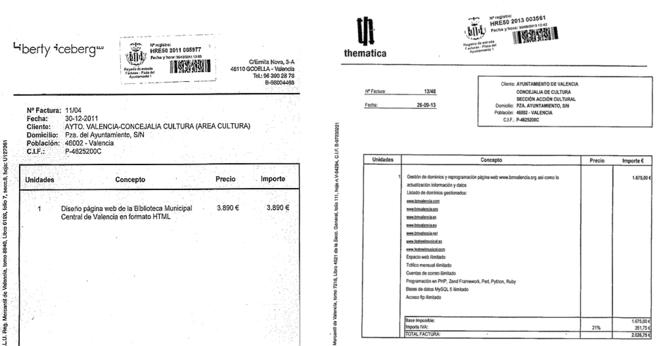 Dos de las facturas con el sello del Ayuntamiento, la mayoría de...