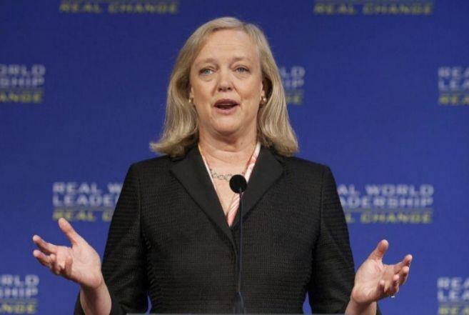Meg Whitman, consejera delegada de Hewlett-Packard, en una conferencia...