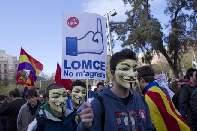 Manifestación de estudiantes contra la Lomce en Barcelona en 2013.