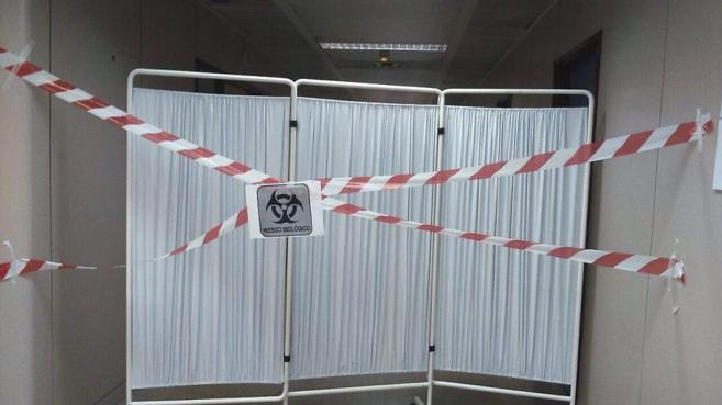 Zona de aislamiento del Hospital de Alcorcón, donde se encontraba la...