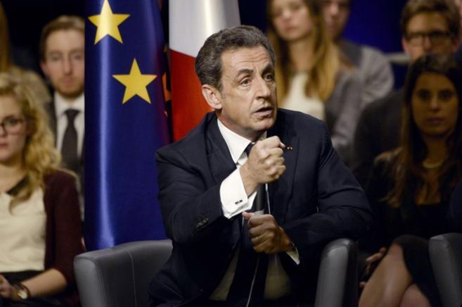 Nicolas Sarkozy, durante un acto en la localidad francesa de...