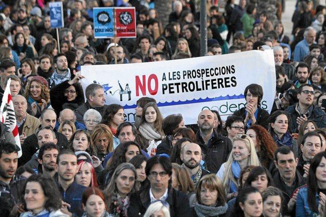 Manifestación celebrada en Palma contra las prospecciones el pasado...