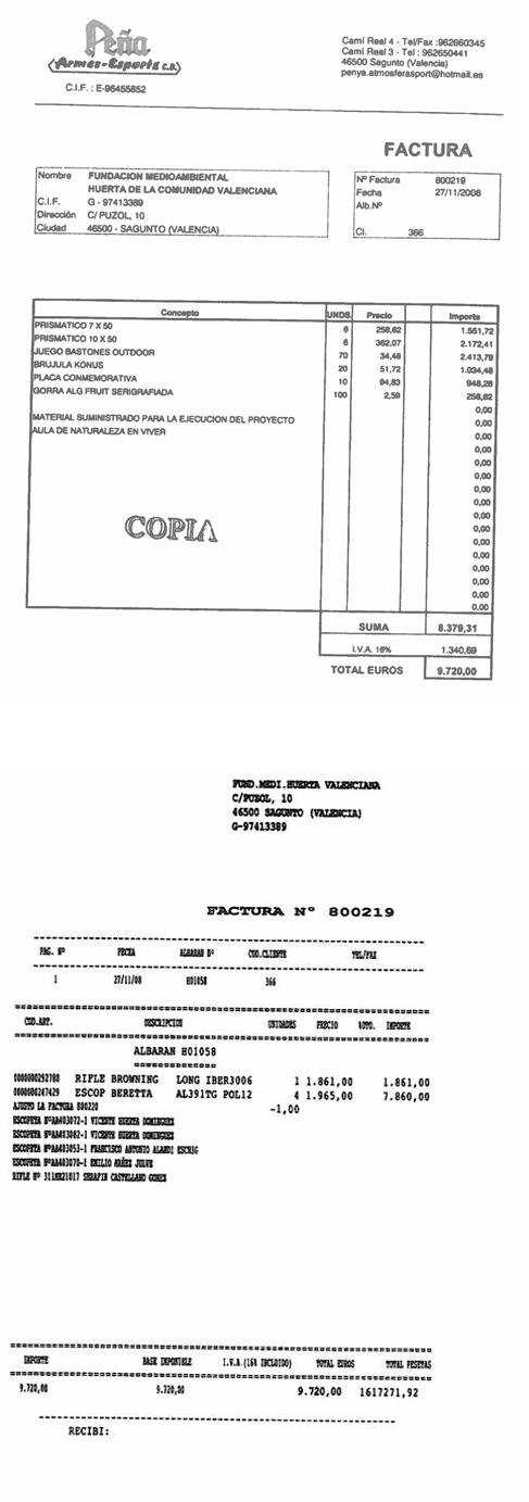 Los dos documentos arriba reproducidos corresponden a las dos facturas...
