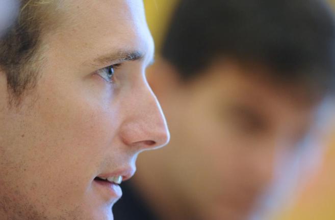 Andy Schleck, durante la rueda de prensa de su despedida.