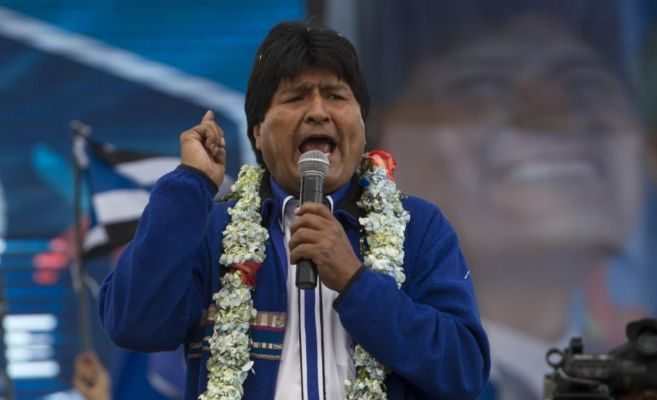 Evo Morales durante el cierre de su campaña en El Alto