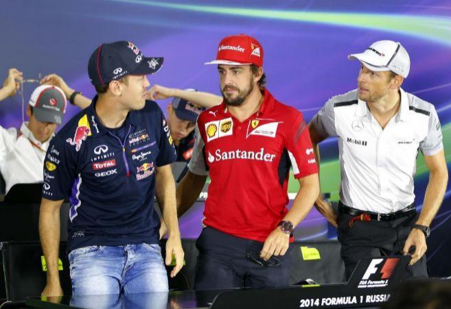 De izda a dcha: Sebastian Vettel, Fernando Alonso y Jenson Button.