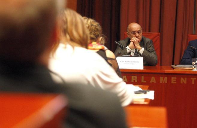 El conseller de Salut, Boi Ruiz, durante la comparecencia de ayer ante...