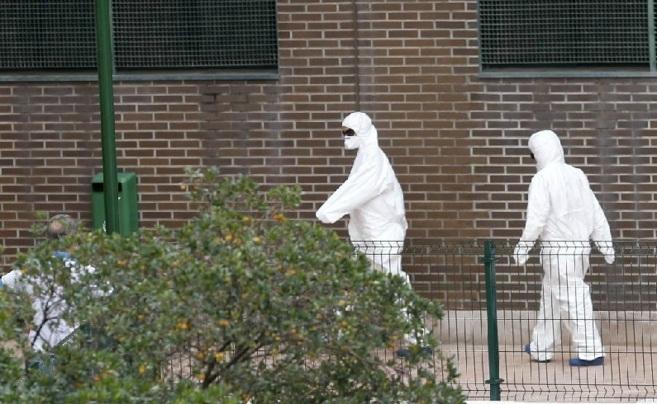 Dos operarios de desinfección del edificio en el que vive Teresa...