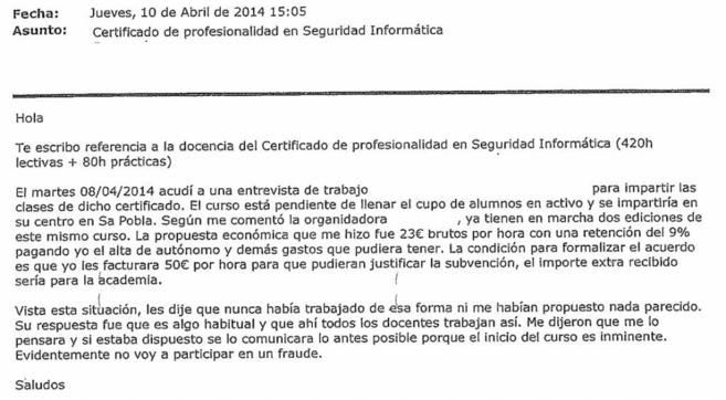 Uno de los correos que recibieron los profesores en Baleares