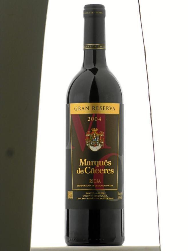 Imagen de una botella del vino 'Marqués de Cáceres'.