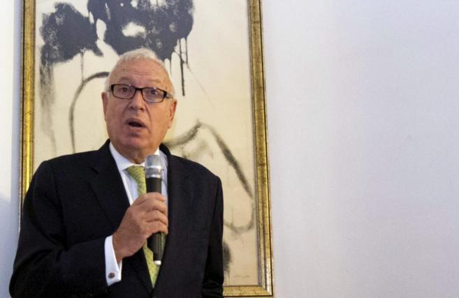 Margallo durante la recepción ofrecida en la residencia del embajador...