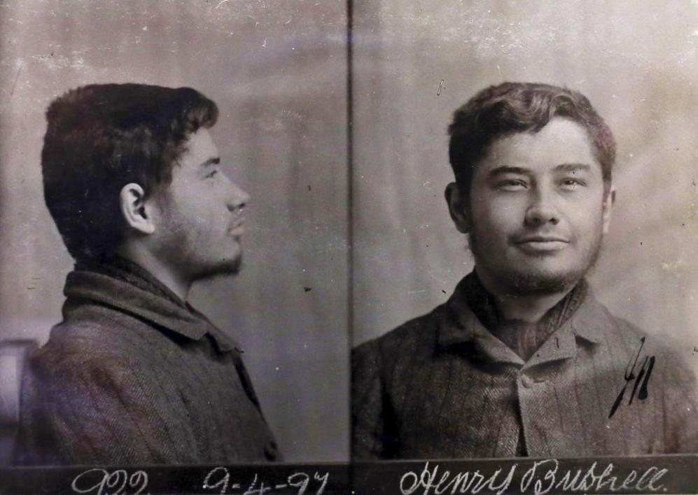 La ficha policial de Henry Bushnell.