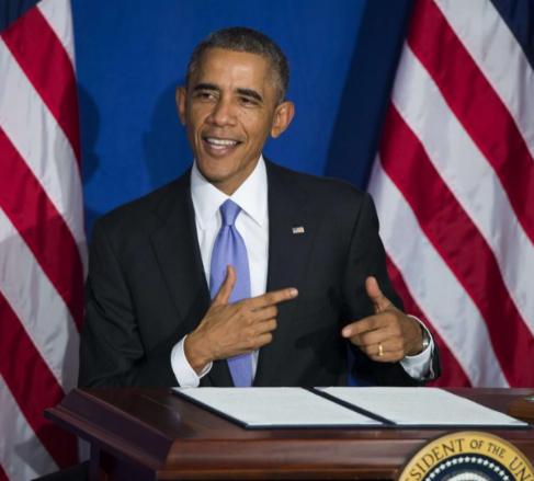 Barack Obama contando la historia del restaurante.
