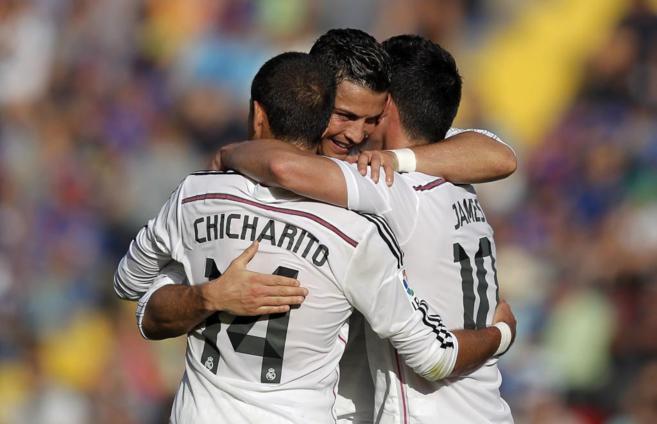 El delantero portugués celebra su segundo gol en el Ciutat de...