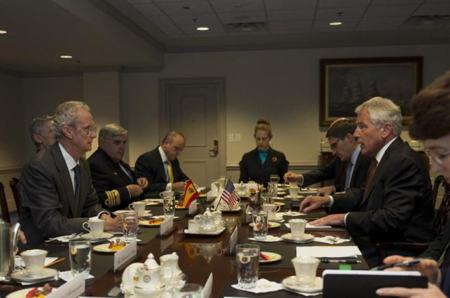 Reunión en el Pentágono de Pedro Morenés con su homólogo de EEUU,...