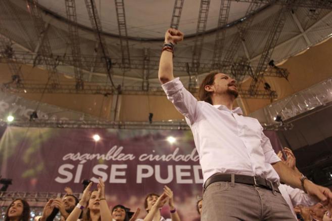 El líder de Podemos, Pablo Iglesias, este sábado en la Plaza de...