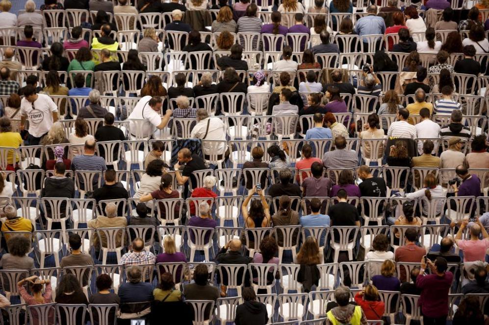 Participantes en la Asamblea ciudadana celebrada en Vistalegre.
