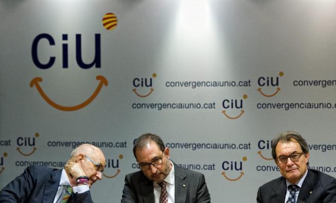 Los dirigentes de Unió Josep Antoni Duran Lleida y Ramon Espadaler,...