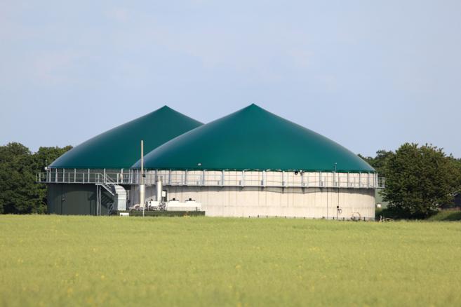 Imagen de una planta de producción de biogás.
