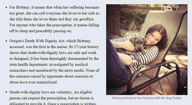 Brittany Maynard, en una imagen de la web de la fundación a favor de...