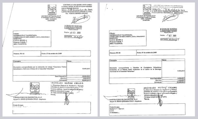 Dos de las facturas abonadas a una de las empresas clave de la trama...