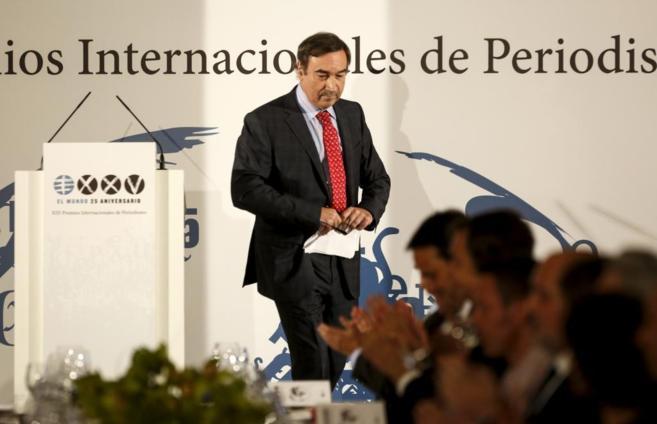 Pedro J. Ramírez, tras finalizar su discurso.