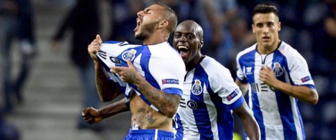 El Oporto celebra el gol de Quaresma, que daba la victoria a su...