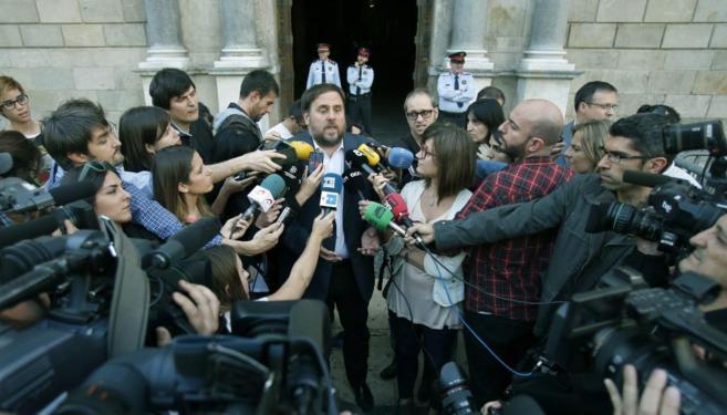 El presidente de ERC, Oriol Junqueras, este miércoles tras la...