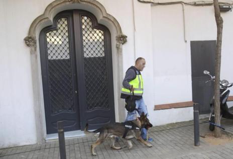 Un agente con uno de los perros que ha registrado la casa de Oleguer...