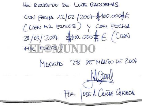 Recibí remitido al ex tesorero del PP Luis Bárcenas por el gerente del PP de Castilla-La Mancha, José Ángel Cañas.