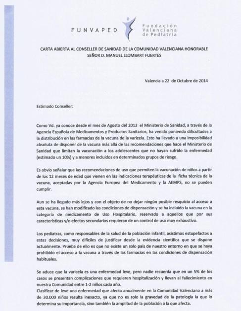 Carta entregada al conseller de Sanidad por los pediatras.