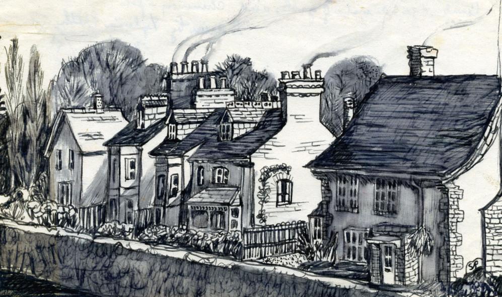 'Cambridge: vista de frontones y cañones de chimeneas', 1955