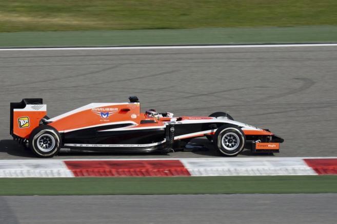 Max Chilton, conduciendo su Marussia durante el GP de Bahrein.
