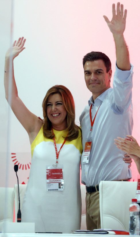 Susana Díaz y Pedro Sánchez en el congreso federal de julio.